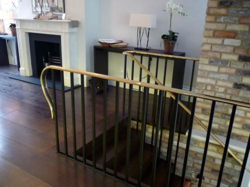 Steel Balustrade Brass handrail   Kensington