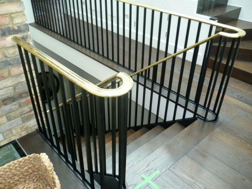 Steel Balustrade Brass handrail | Kensington